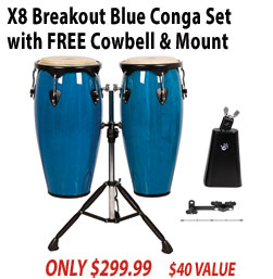 X8 Breakout Blue Conga Set with Cowbell