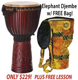 Roaming Elephant Djembe with Free Bag