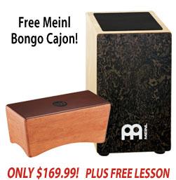 Free Bongo Cajon with Meinl Makah Burl String Cajon